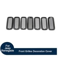 Car Exterior Front Mesh Grill Grilles Decoration Cover Fit For Jeep Renegade 2015+ 7PCS Black Grid Trims Accessories
