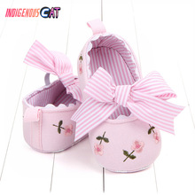Baby Shoes Girls Princess Infant Toddler Crib Kids First Walkers Canvas Striped Big Bow Soft Soled Anti Slip Shoes Toddler Shoes цены онлайн