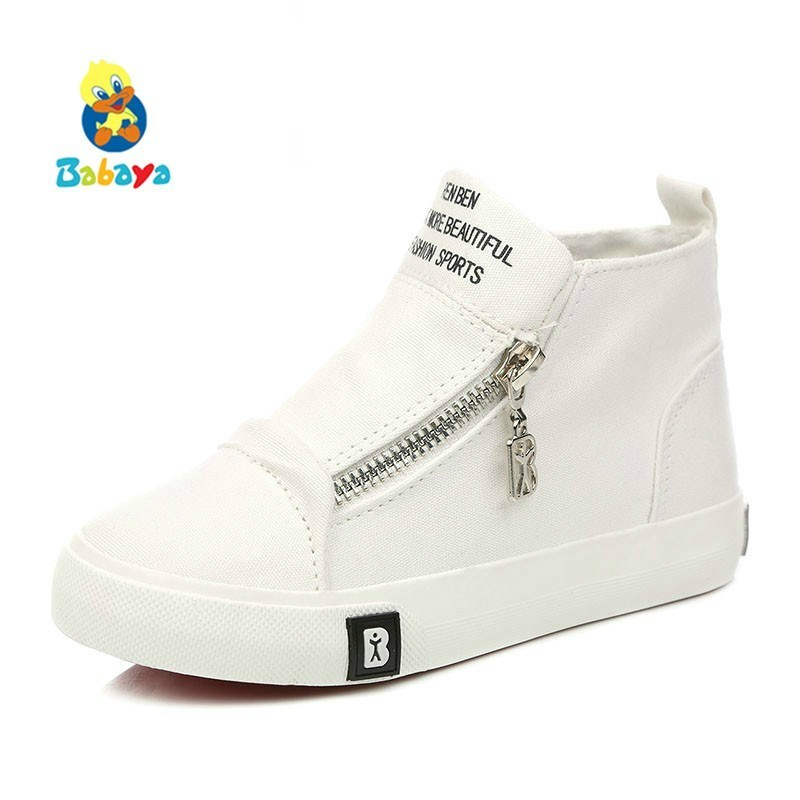 Children Canvas Shoes For Girl Kids Shoes Boys Sneakers Breathable 2018 New Spring Autumn Children High Casual Shoes Fashion Zip 2016 new shoes for children breathable children boy shoes casual running kids sneakers mesh boys sport shoes kids sneakers