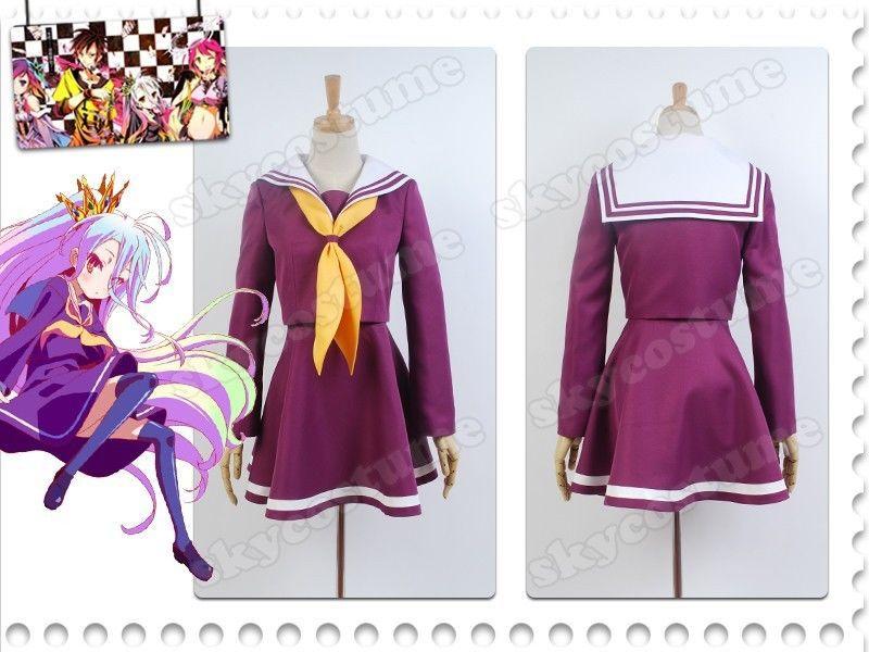 No Game No Life Kuuhaku Shiro Halloween Cosplay Costume Dress Uniform Outfit Set