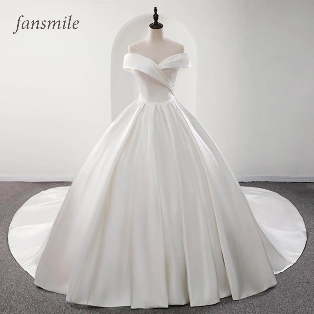 Fansmile 2019 Robe De Mariage Lustrous Satin Ball Gown Wedding Dresses Vestido De Noiva Plus Size Custom Wedding Gowns FSM-573T