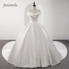 Fansmile 2020 Robe De Mariage Glänzender Satin Ballkleid Hochzeit Kleider Vestido De Noiva Plus Größe Custom Hochzeit Kleider FSM 573T