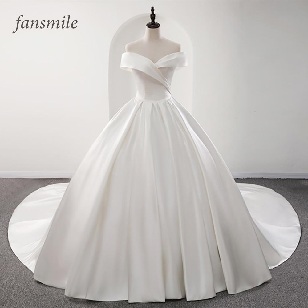 Fansmile 2020 Robe De Mariage Lustrous Satin Ball Gown Wedding Dresses Vestido De Noiva Plus Size Custom Wedding Gowns FSM-573T