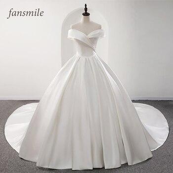 Fansmile 2020 Robe De Mariage Lustrous Satin Ball Gown Wedding Dresses Vestido Noiva Plus Size Custom Gowns FSM-573T - discount item  30% OFF Wedding Dresses
