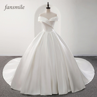 Fansmile 2020 Robe De Mariage Lustrous Satin Ball Gown Wedding Dresses Vestido De Noiva Plus Size Custom Wedding Gowns FSM 573T
