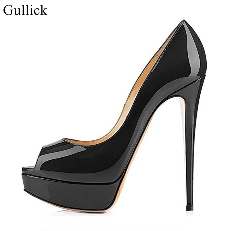 Gullick Women Black Patent Leather Peep Toe Pumps High Heels Sexy Slip-on Platform Stiletto High Heel Pumps Party Dress Shoes odetina women sexy stiletto pointed toe high heels ladies party shoes slip on patent leather pumps flower printing big size 43