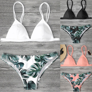 Women Split Swimwear Bikini Set Tropical Leave Print Bottom Solid Top Female Brazilian Bather Suit Swimsuit Swim Maillot Tankini
