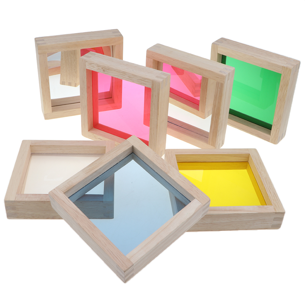 Baby Toddler Wooden Montessori Toys - 7 Pieces Rainbow Mirror Buliding Blocks Stacking Blocks 50pcs hot sale wooden intelligence stick education wooden toys building blocks montessori mathematical gift baby toys