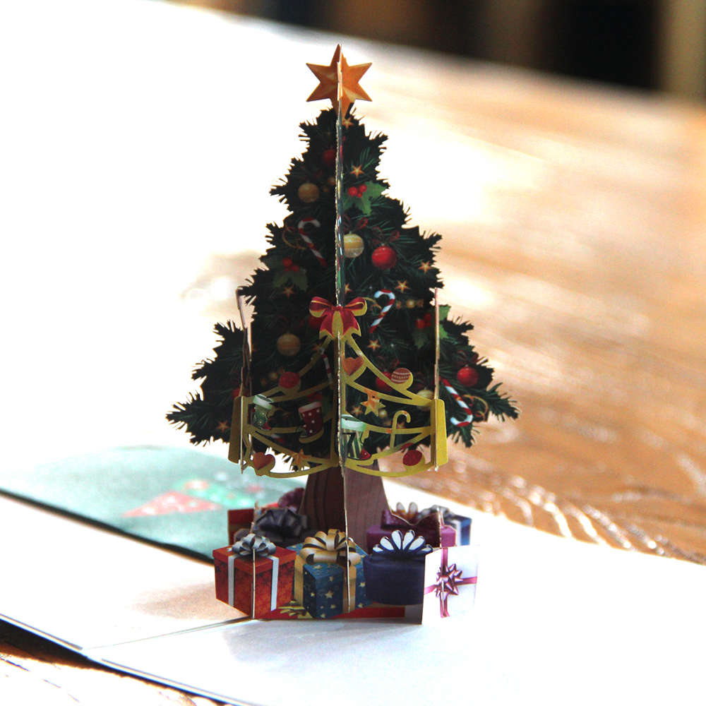 3D Pop up Cards Merry Christmas Origami Paper Laser Cut Postcards Gift Greeting Cards Handmade Blank Colourful Christmas Tree