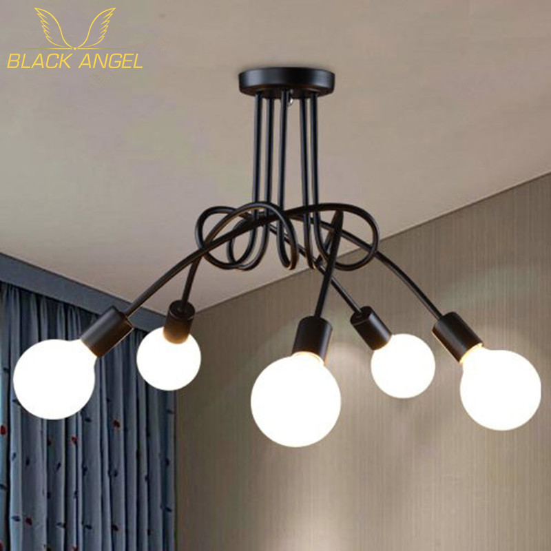 ФОТО Modern Brief Led Ceiling Light Creative Black Ceiling Lamp Vintage luminaria teto Pendant Ceiling Kids Bedroom Lighting Fixture