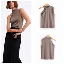 Autumn Knitted Sweater Women's Sleeveless One-shoulder Shirt Hollow Knit Top ZA Style Sweater one shoulder ribbed knit top