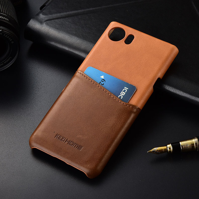 best service b7ff5 784fd US $11.99 28% OFF|Kezihome For Blackberry Keyone Case Genuine leather Hard  Back Cover Case for Keyone With Card Pocket cover High quality-in ...