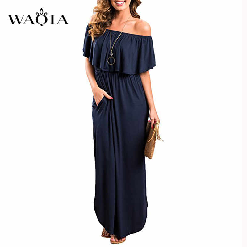 400ce157acf8f1 ... WAQIA Boho Style Long Dress Women Off Shoulder Beach Summer Dresses  Solid Ruffles Vintage White Maxi