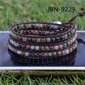 Newest  Fashion genuine leather charms bracelet chromatic agate beads jewelry bracelet&bangles for male JBN-9229