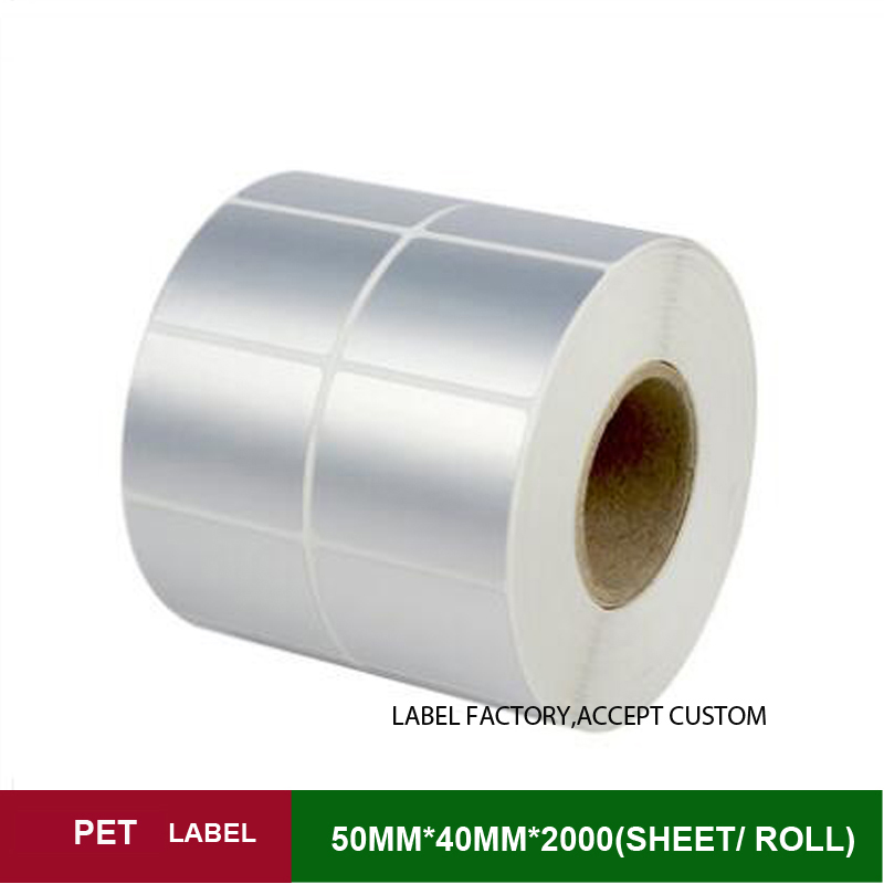 W*H 50*40mm*2000 sheets one roll PET thermal transfer sticker label paper support customized order with brand logo or other size