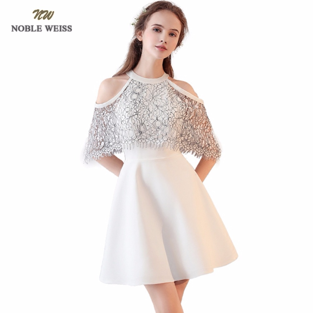 NOBLE WEISS A-Line   Prom     Dresses   O-Neck Lace Robe De Soiree Mini Sexy New Style Zipper Back   Prom     Dress