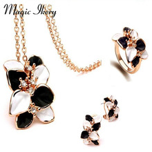 Magic Ikery New Arrival Fashion  Gold Plated Crystal  Leaves Retro Black and White Necklace Earrings Rings Set  MKY4954
