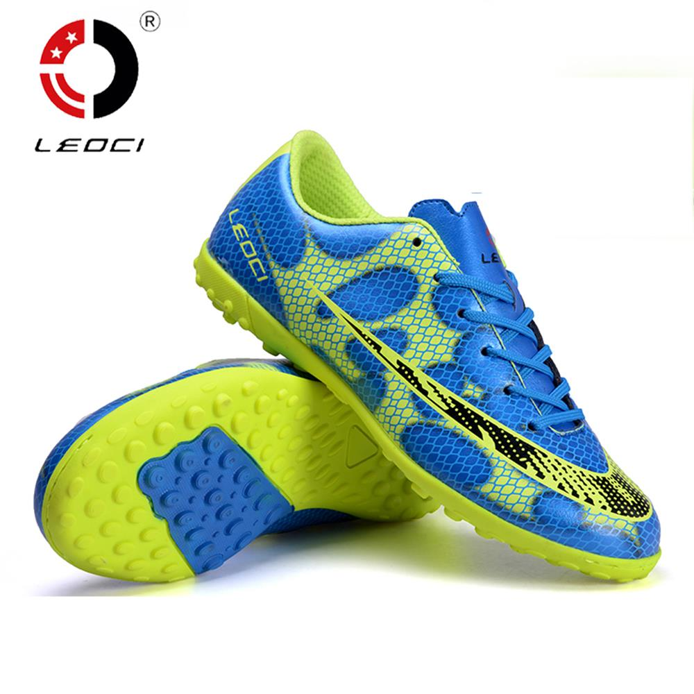 LEOCI Smooth Football Shoes TF Turf Soccer Shoes Wear-Resisting Cleats Botas De Futbol For Adult/Kids Size 33-44 Football Boots tiebao professional size 36 43 soccer shoes mens football training sneakers tf turf soles boots outdoor botas de futbol