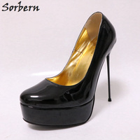 Sorbern 16Cm Stilettos Metal High Heels Women Pumps Slip On Patent Leather Ladies Shoes Platform African Party Shoes 2018