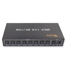 New Style SPDIF/TOSLINK Digital Optical Audio Splitter 1x8 Audio Amplifier Support DTS/Dolby With Power Adapter Free Shipping