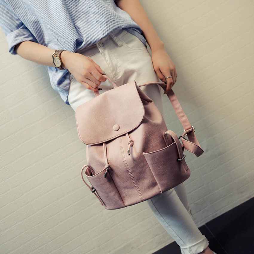 Fashion String Pu Leather Backpack Women Bag New School Bag For Teenagers Backpacks Ladies Bag High Quality Mochilas Mujer 2017 in Backpacks from Luggage Bags