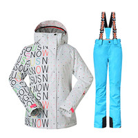 GSOU SNOW Winter 35 Degree Women Ski Suit Female Snowboarding Suits Waterproof 10K Super Warm Ski