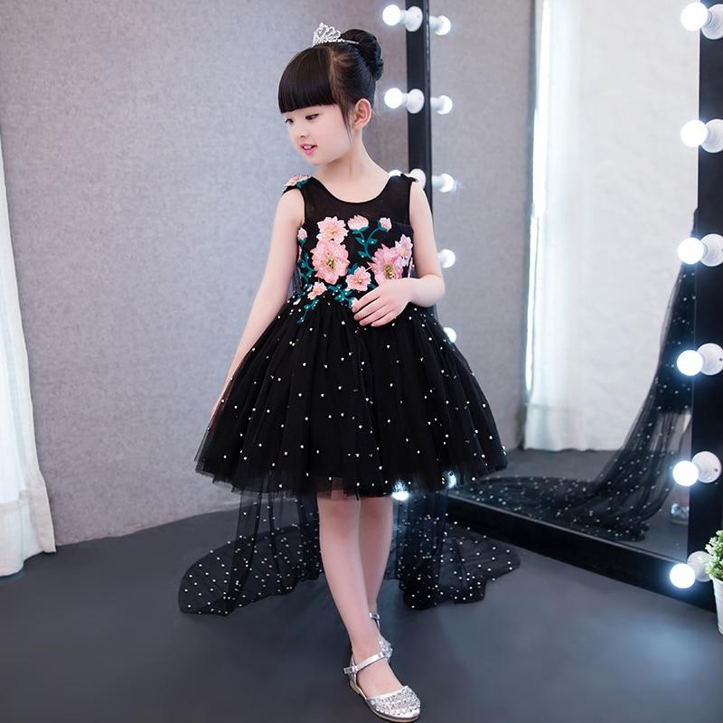 2017 New Korea Luxury Indah Hitam Warna Anak Gadis Pesta Ulang Tahun