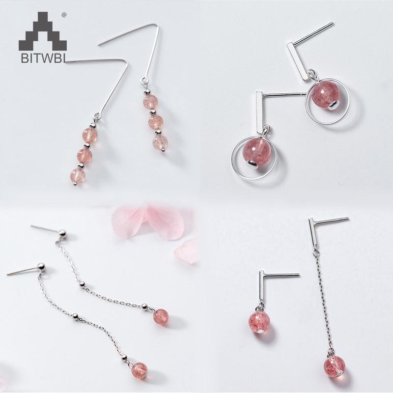 100% Echt Reine 925 Sterling Silber Ohrringe Für Frauen S925 Runde Erdbeere Kristall Ohrring Sterling-silber-schmuck Erfrischung