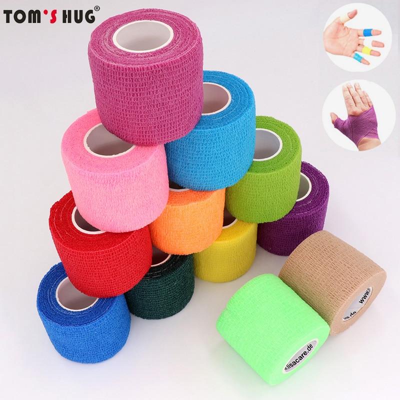 Tom\'s Hug Красочные Спорт самостоятельно самоклеящийся эластичный бандаж обёрточная бумага клейкие ленты 4,5 м защита, накладки для коленей пал...