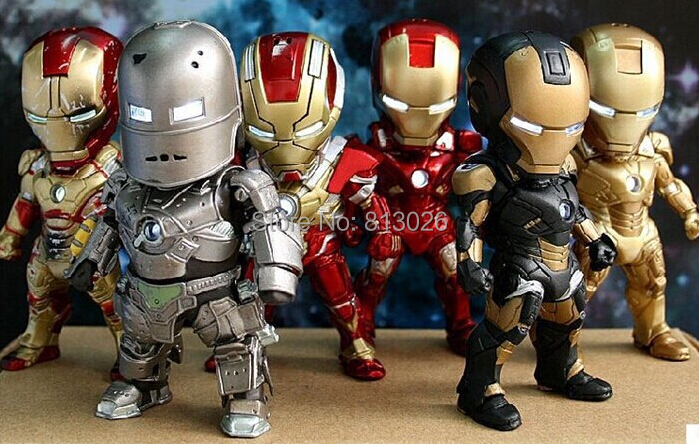 Iron Man Action Figure Mini Egg Attack light 6pcs/set Action Figures PVC brinquedos Collection Figures toys for christmas gift iron man action figure mini egg attack light 6pcs set action figures pvc brinquedos collection figures toys for christmas gift