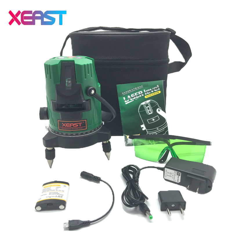 XEAST XE-83G 5 Lines 6 Points green laser level Self-Leveling 360 degree laser level 360 degree rotary cross laser line kapro laser level laser angle meter investment line instrument 90 degree laser vertical scribe 20 meters