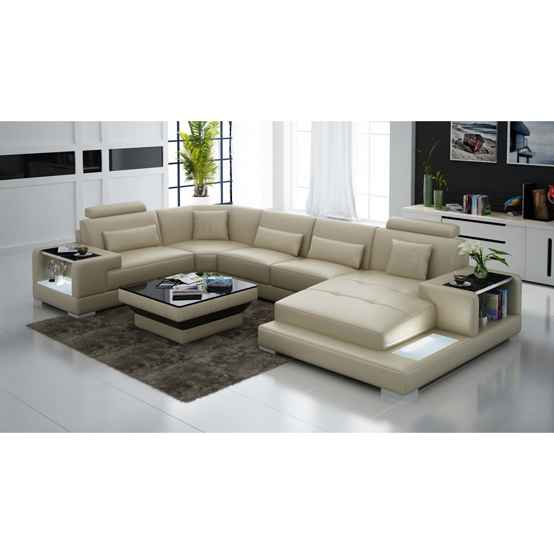 US $1550.0 |Genuine leather beige U shape living room sectional sofa set  designs with central table-in Living Room Sofas from Furniture on ...