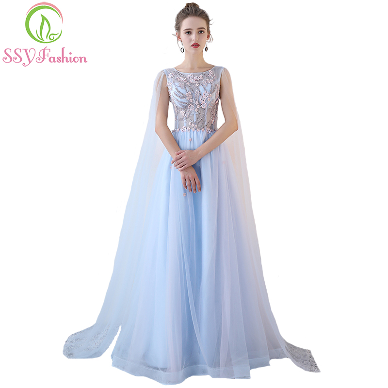 SSYFashion New Sweet Light Blue Lace Evening Dress The Bride Banquet ...