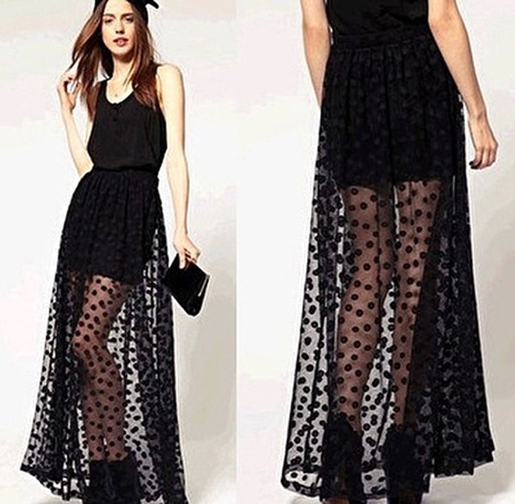 Fashion Women Polka Dot Layer Lace Mesh Long Maxi Skirt Slim Elastic Waist Skirt