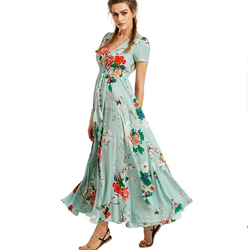 2018 New Women Fashion Maxi Dress Short Sleeve Long Summer Floral Print Dresses Casual Ladies Sexy Party Beach Dress MLD1026 ...