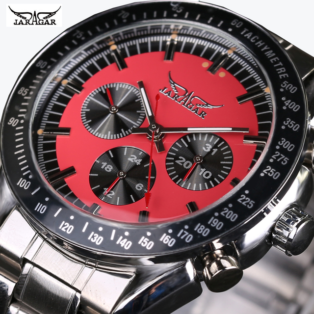 JARAGAR 2016 Homens Assistir Top Marca de Luxo automático Relógios mecânicos Homens de aço inoxidável Homens relógio de Pulso Multifunções