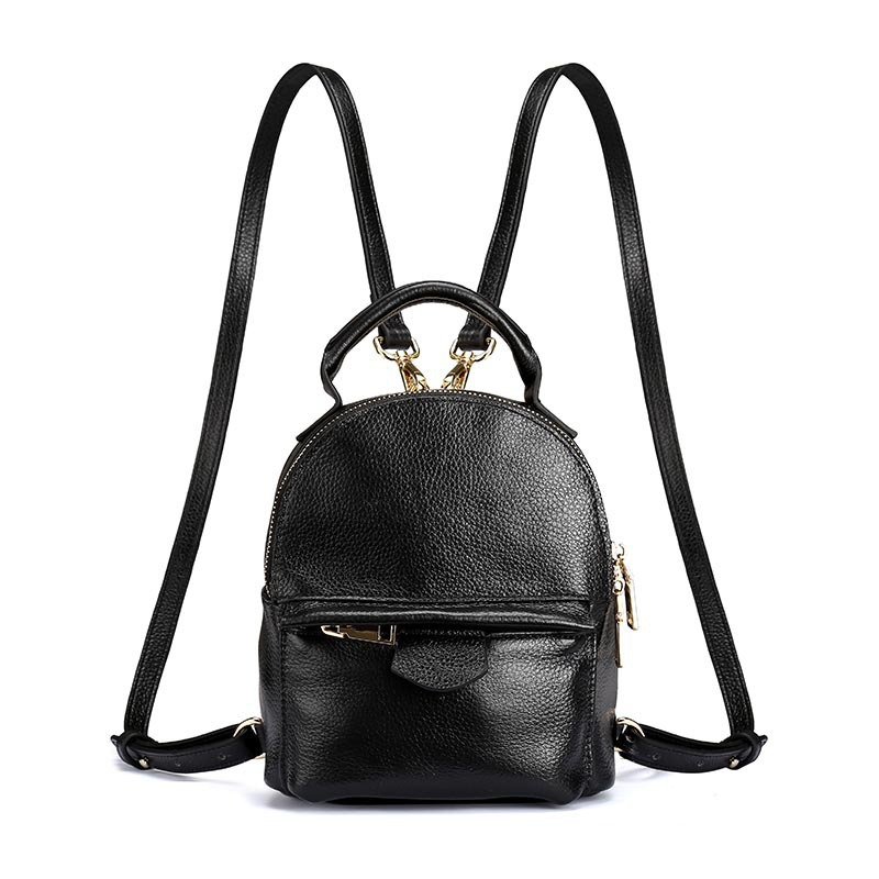 купить Famous Brand Designer Litchi Grain Leather Mini Backpack Black Woman Cowhide Leisure School Bag Girl All Match Ladies Bagpack по цене 2127.31 рублей