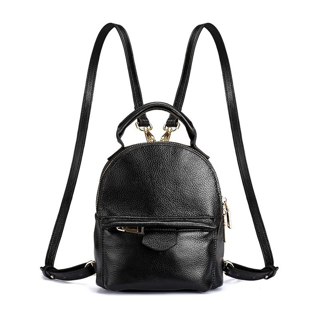 Famous Brand Designer Litchi Grain Leather Mini Backpack Black Woman Cowhide Leisure School Bag Girl All Match Ladies Bagpack by Bodachel