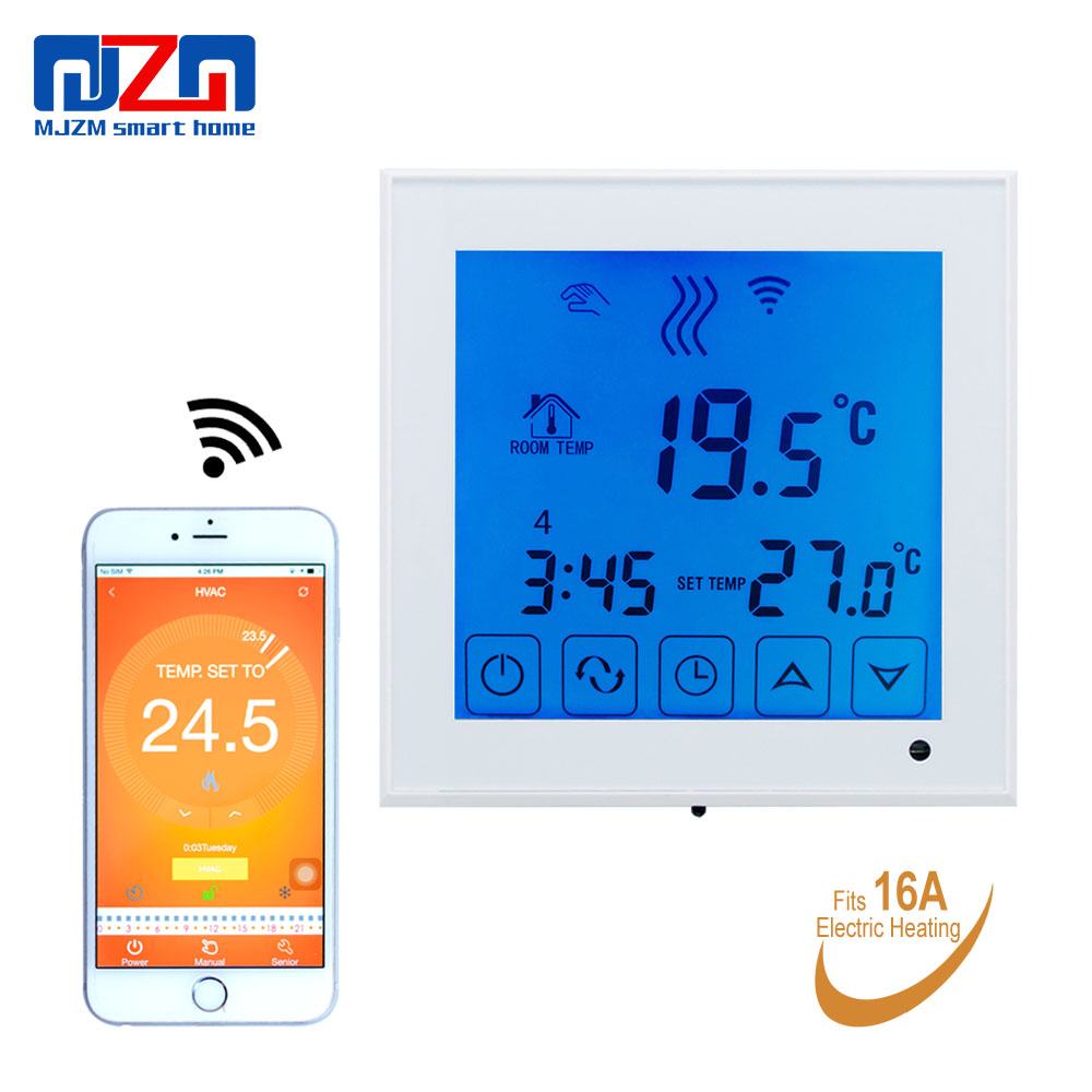 MJZM 16A03 1BL WiFi Electric Thermostat Temperature Controller for Underfloor Heating Regulator Touch Screen Blue Room