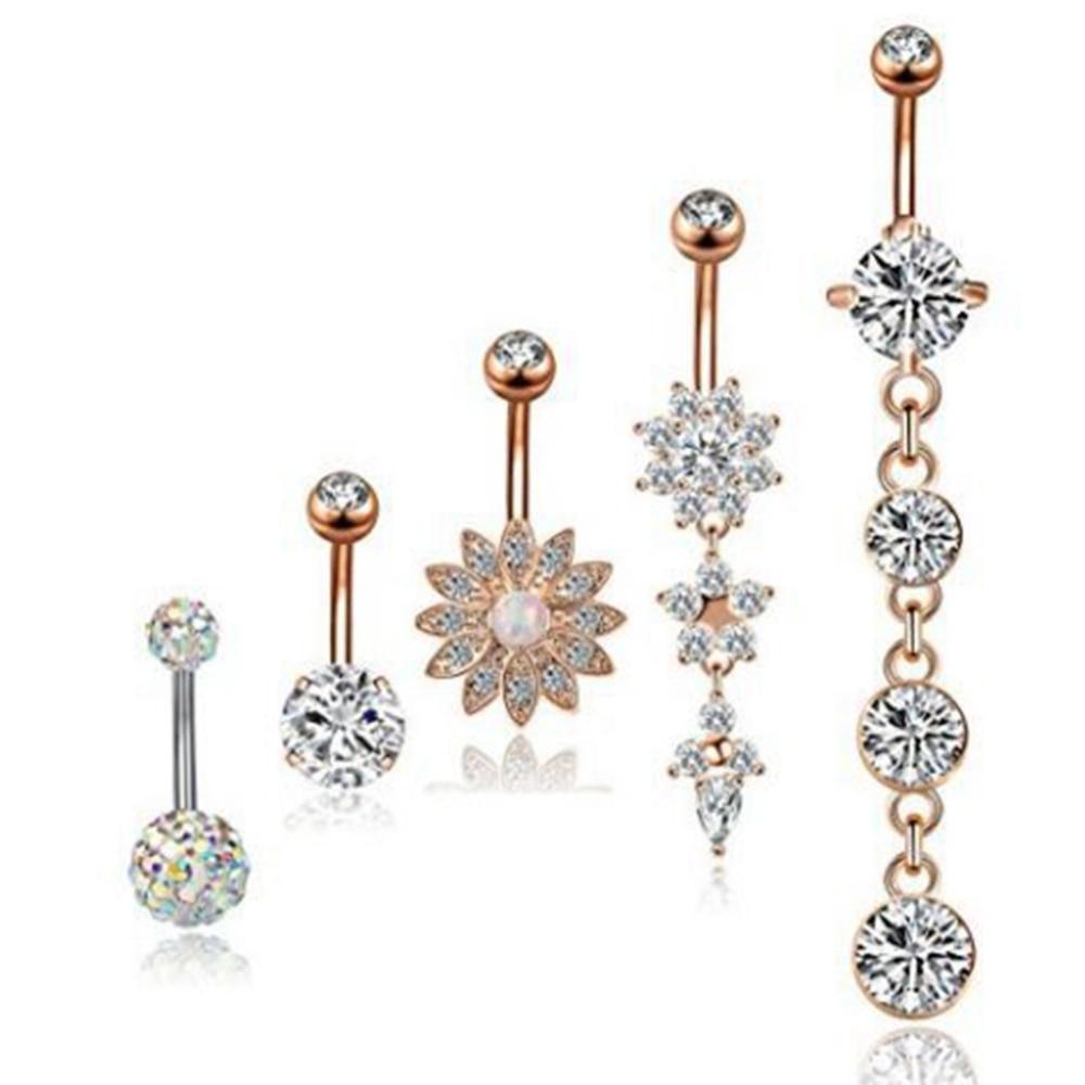 5 PCS/Pack En Acier Inoxydable Nombril Piercing Pour Femmes Pendentif En Cristal Piercing Nombril Bouton Bijoux de Corps
