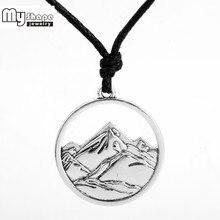 Длинное ожерелье My shape пейзаж горы и реки, регулируемый воск, шнур, цепочка, выдолбленная подвеска, аксессуары
