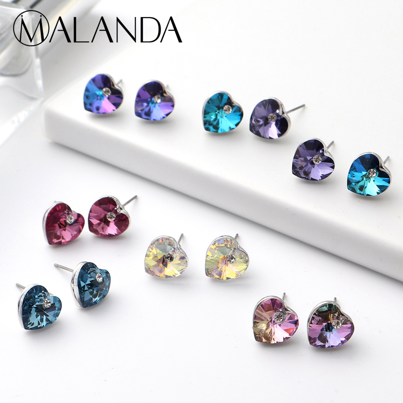 7 Pairs/Set Heart Crystal From SWAROVSKI Stud Earrings For Women Fashion Silver Color 7 Colors/Weekly Earrings Jewelry Girl Gift misscycy fashion 12 pair set women square crystal heart stud earrings for women piercing simulated pearl flower earrings