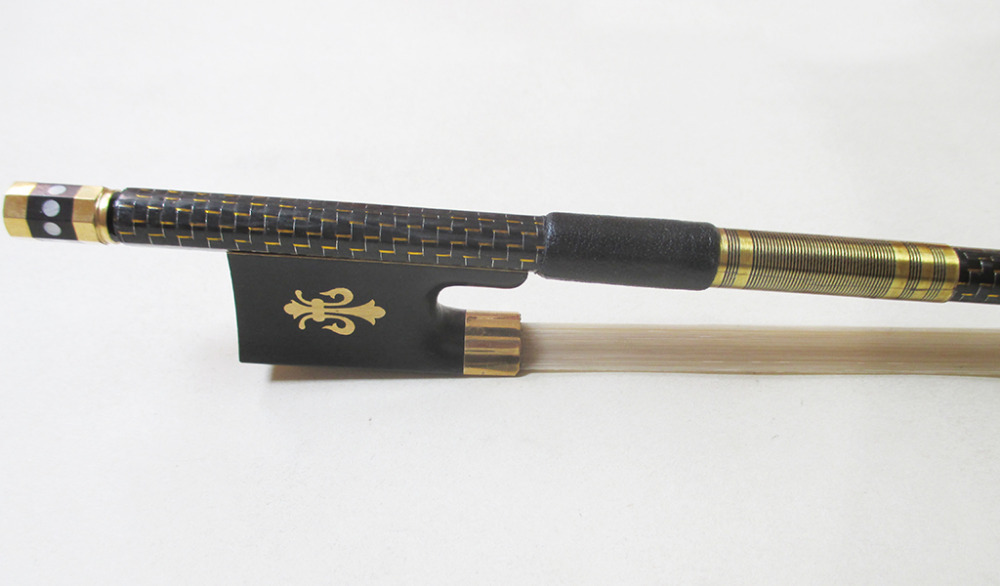 Violin Carbon fiber  bow  Master Level Gold Mounted FPZ021# 55 hanks white stallion violin bow hair 6 grams each hank in 32 inches