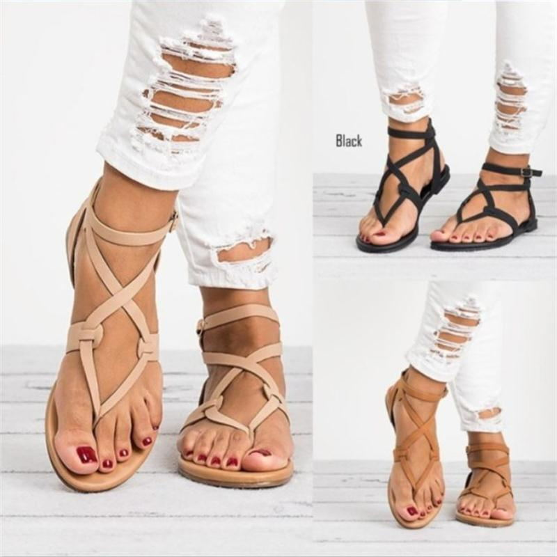 New Arrive Women Sandals Gladiator Summer Women Shoes Plus Size 35-43 Flats Sandals Shoes for Women Casual Rome Style Sandalias fashion retro style fringe gladiator sandals women rome peep toe flats casual dress shoes woman big size 34 41 summer slipeers