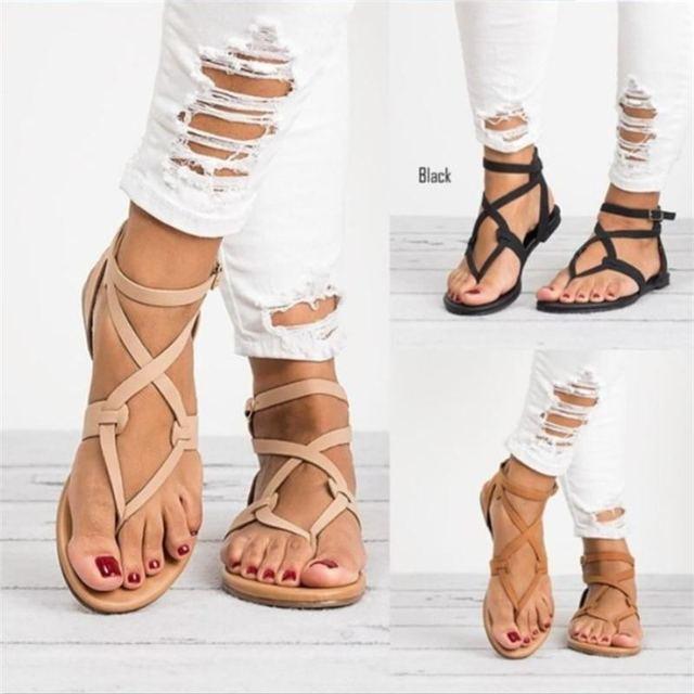 Nuovo Arrivano Le Donne Sandali Gladiatore di Estate Scarpe Da Donna Plus Size 35-43 Appartamenti Sandali Scarpe per le Donne Casuali Roma stile Sandalias