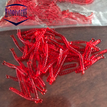 цена 200pcs/lot Soft Lure Fishing Simulation Earthworm red Worms Artificial Silicone Fishing Lure Tackle Lifelike Fishy Smell Lures онлайн в 2017 году