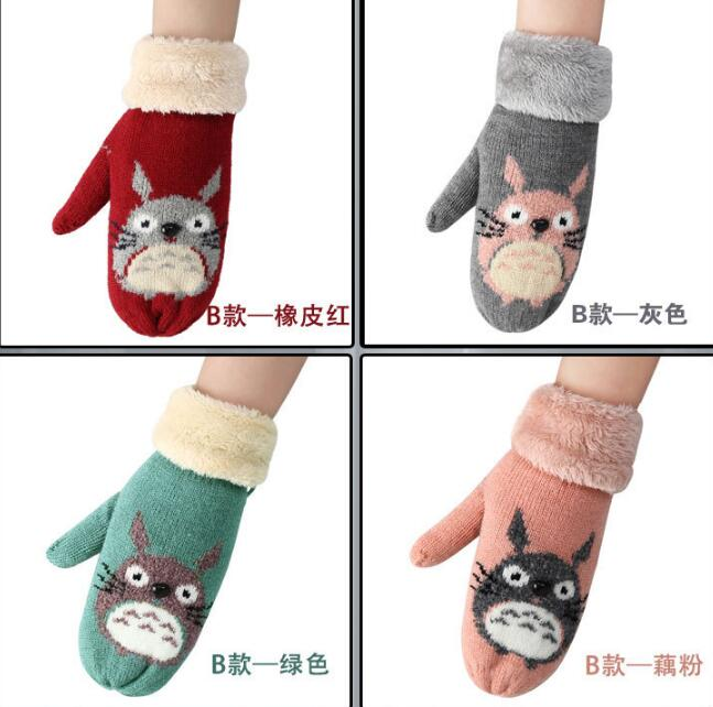 Ladies Cartoon Deer Wool Knitted Double Thicker Plus Cashmere Mittens Women Winter Warm Full Finger Soft Cute Gloves