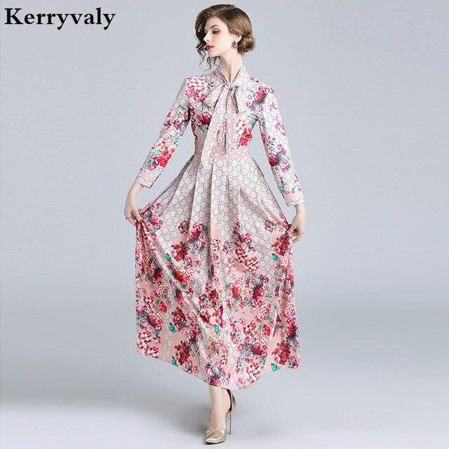 7f2424a288f Robe Vintage Print Floral Maxi Dress Women Runway Dress Designers 2018  Autumn Long Sleeve Party Dress