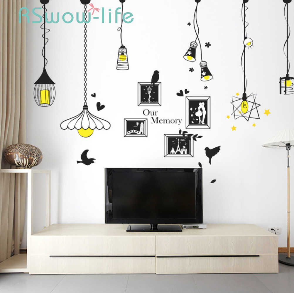 Creative Chandelier Photo Wall Sticker Bedroom Living Room Porch Background Decoration Sticker For Wall Decorations Living Room-in Wall Stickers from Home & Garden