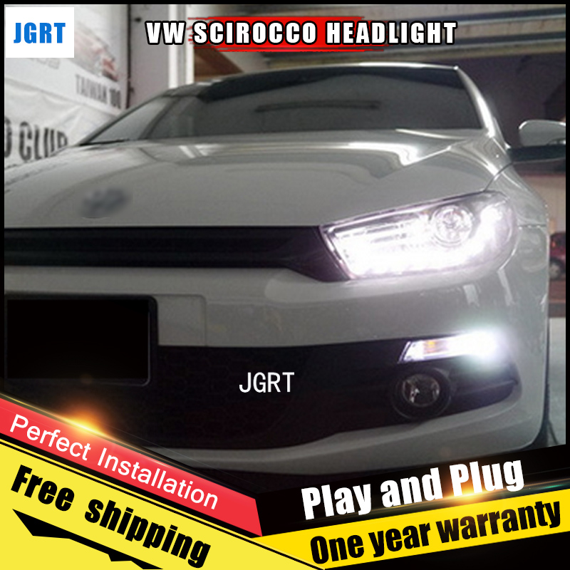 Car Style LED headlights for VW Scirocco 2011-2015 for Scirocco head lamp LED DRL Lens Double Beam H7 HID Xenon bi xenon lens